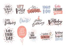 Collection of colorful birthday wishes or hand drawn lettering decorated with festive elements - party hat, glass of. Champagne, balloon, confetti. Vector Stock Photo