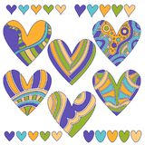 Colorful heart collection isolated over white background. Collection with colorful blue, turquoise, yellow and green large and small hearts. The large hearts Stock Photo