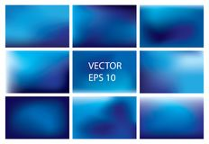 Collection of 9 colorful blurred abstract sky backgrounds. Images EPS 10 royalty free illustration