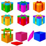 Collection of colorful box christmas gifts with Royalty Free Stock Image