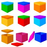 Collection of colorful box christmas gifts. Vector Stock Photography