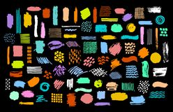 Collection of colorful bright dry paint brush marker ink stokes textures royalty free illustration