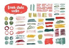 Collection of colorful brush strokes, paint traces, smudges, smears, stains, scribble isolated on white background. Set. Of bright colored hand drawn design Royalty Free Stock Photo