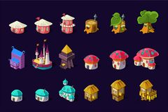 Flat vector set of colorful buildings for mobile game. Cartoon fairy houses in shapes of trees and mushrooms. Cute. Collection of colorful buildings for online royalty free illustration