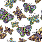 Collection of colorful butterflies royalty free illustration
