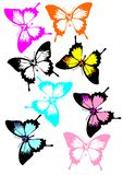 A collection of colorful butterflies. Royalty Free Stock Photos