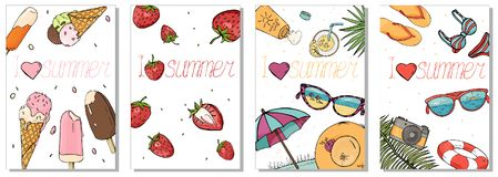 Collection of colorful cards on the summer theme. Strawberry berries, ice cream and beach accessories. stock illustration