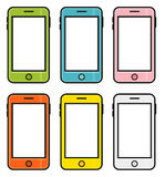 Collection of 6 colorful cartoon smart phones, mobile phones iso Stock Images