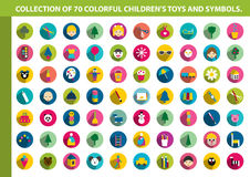 Collection of colorful children flat icon. Royalty Free Stock Photography