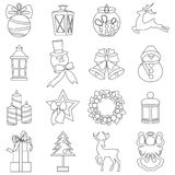 Collection of colorful christmas elements and decorations Stock Photo