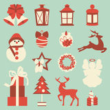 Collection of colorful christmas elements and decorations Royalty Free Stock Images
