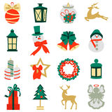 Collection of colorful christmas elements and decorations. Set of colorful christmas elements and decorations Stock Photos