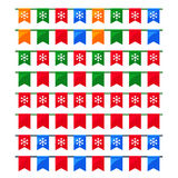 Collection of colorful Christmas garlands with flags for use as brushes Stock Images