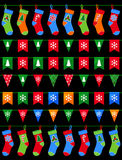 Collection of Colorful Christmas garlands for use as brushes Royalty Free Stock Images