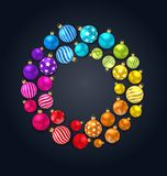 Collection Colorful Christmas Glass Balls on Dark Background. Illustration Vector Stock Images