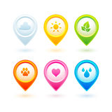 Collection of 6 colorful circle location pointers Royalty Free Stock Images