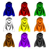 Collection of Colorful Cloaks isolated on white background. Colored Capes. Vector Illustration for Your Design, Game, Card. Collection of Colorful Cloaks vector illustration