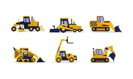 Flat vector set of colorful construction vehicles. Excavator, wheel loader, bulldozer, grader. Heavy equipment for. Collection of colorful construction vehicles vector illustration