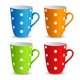 Collection of colorful cups with white dots template Stock Photo