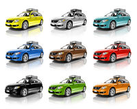 Collection of Colorful 3D Family Cars Royalty Free Stock Photos