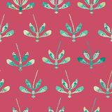 Collection of colorful dragonflies arranged in rows on apink background in a folk art style. Seamless repeat vector pattern. Ideal for home decor, apparel vector illustration