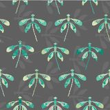 Collection of colorful dragonflies arranged in rows with their silhouette in the background in a folk art style. Seamless repeat. Vector pattern. Ideal for home royalty free illustration
