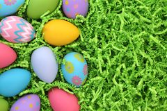 Collection of colorful Easter eggs background royalty free stock photography