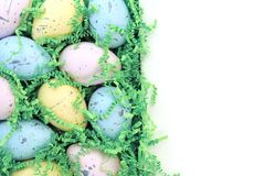 Collection of colorful Easter eggs with blank space stock image