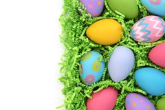 Collection of colorful Easter eggs with blank space background royalty free stock photo