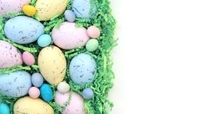 Collection of colorful Easter eggs and candy royalty free stock photography