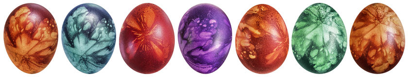 Collection of Colorful Easter Eggs Decorated with Leaves Imprints  on White Background Royalty Free Stock Photos