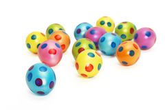 Collection of colorful Easter Eggs with focus on the first blue egg Royalty Free Stock Photo