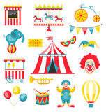 Collection Colorful Elements for Circus and Carnival Royalty Free Stock Photos