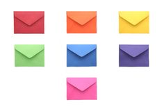 Collection of Colorful Envelopes. Collection of Colored Envelopes on White Background Royalty Free Stock Photo