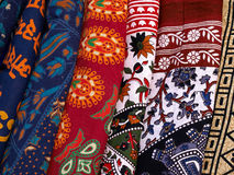 Collection of colorful fabrics in a market Kathmandu Nepal Stock Images