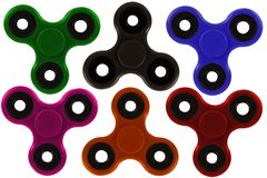 Collection of colorful fidget spinner, a stress relieving toy. Collection of colorful fidget spinner, a stress relieving toy, isolated on white background stock photography