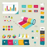 Collection of colorful flat and 3D infographic elements. Stock Photos