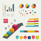 Collection of colorful flat infographic elements. Stock Photo