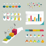 Collection of colorful flat infographic elements. Stock Images