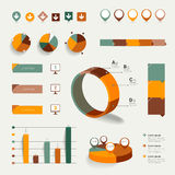 Collection of colorful flat infographic elements. Royalty Free Stock Image