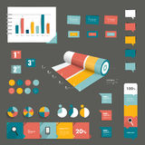 Collection of colorful flat infographic elements. Royalty Free Stock Photos