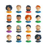 Collection of 16 colorful flat user male icons. Different characters, age and race for avatars in social networks, and communication interface vector illustration