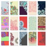 Collection of colorful floral ornamental business Stock Photos