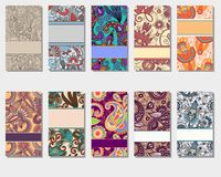 Collection of colorful floral ornamental business Royalty Free Stock Photography