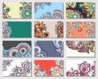 Collection of colorful floral ornamental business Stock Image