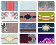 Collection of colorful floral ornamental business Royalty Free Stock Photos