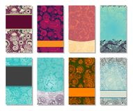 Collection of colorful floral ornamental business Stock Images