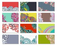 Collection of colorful floral ornamental business Royalty Free Stock Image