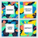 A collection of colorful floral templates. royalty free stock photo