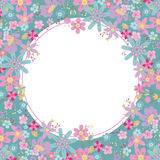 Collection of colorful flowers on a blue circle frame Stock Photo